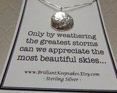 Strength Quote Sterling Silver Sand Dollar Pendant Necklace
