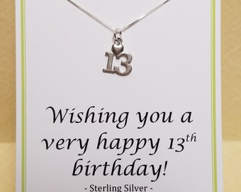 13th Birthday Gift Keesapke For Her Thirteen Charm Necklace Sterling Silver