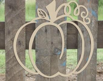 Pumpkin Outline Unfinished Wooden Craft Shape, Fall Door Decor
