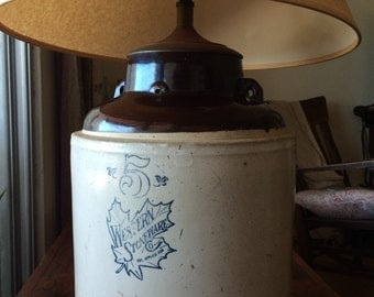 SALE! Western Stoneware Crock Lamp Antique 5 Gallon Pottery Crock Whiskey Repurposed Rustic Lighting Vintage Farm Table Lamp Jug