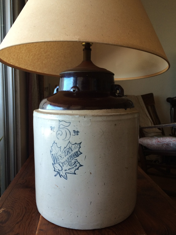 SALE Western Stoneware Crock Lamp Antique 5 Gallon Pottery