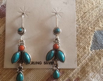 Native American EARRINGS Sterling Turquoise Coral