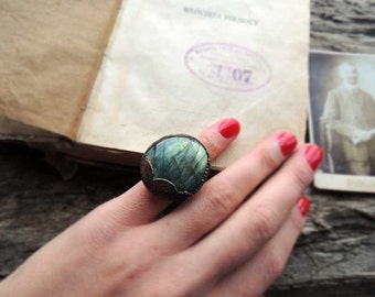 Labradorite ring, wild green ring, 4.5 size US, statement ring, electroformed ring, rough gemstone ring, MARIAELA