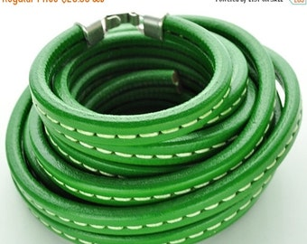up to 50% OFF 1 Meter - Green Stitched Licorice Leather 10 x 6mm  39.4 inches/1M (Thick Leather Cord)