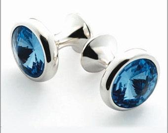 Rhodium Plated Cufflinks with Blue Swarovski Crystals CS001
