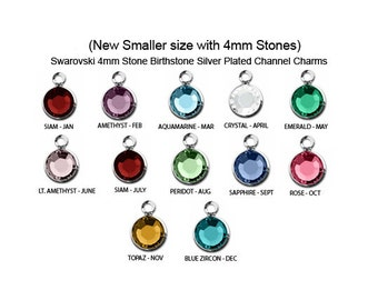 12 Pcs  4mm Stone (New Smaller) Bezel Set Swarovski Birthstone Crystal Charms,  Sterling Silver Plated, 1 of each month, - CC4S-SET12