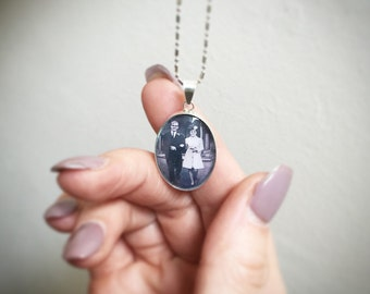 25x18mm Sterling Silver Memory Photo Charm, Photo Frame Necklace, Custom Photograph Pendant, Keepsake Necklace, Memorial Gift, Gift for Her
