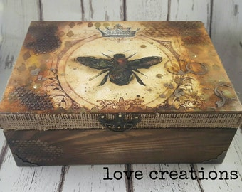 Queen Bee, Industrial, wooden treasure, keepsake, memory, storage box, vintage style,detailed,rust effect, handcrafted gift, only one made