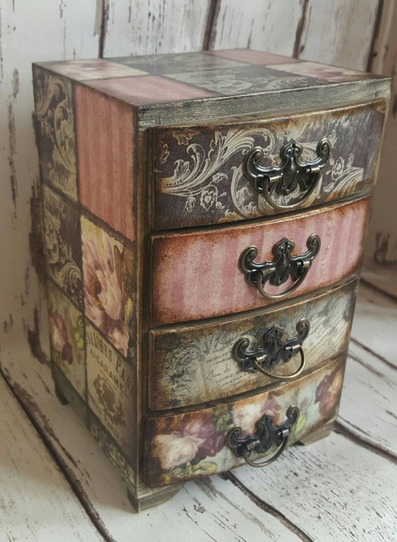 Wooden mini chest of drawers,jewellery storage, romantic  roses Vintage Style,decoupaged, house, bedroom, boudoir decor, jewelry  box.Rustic