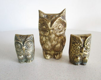 Family of Brass Owls Mother and Two Babies Mid Century Vintage