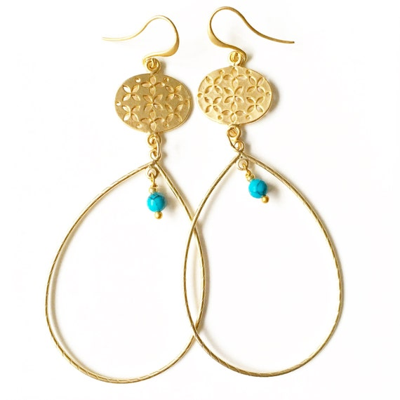 SALE - Taste of Marrakech - Giant Gold Hoop and Turquoise Earrings