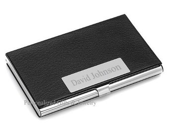 Quality Leatherette Business Card Case - Free Engraving