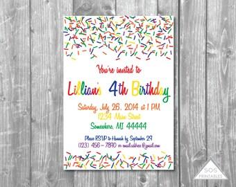 Rainbow Sprinkle Invitation, Rainbow Birthday, Rainbow Invitation, Rainbow Sprinkle Invite, Printable Invitation, Printable PDF, JPEG