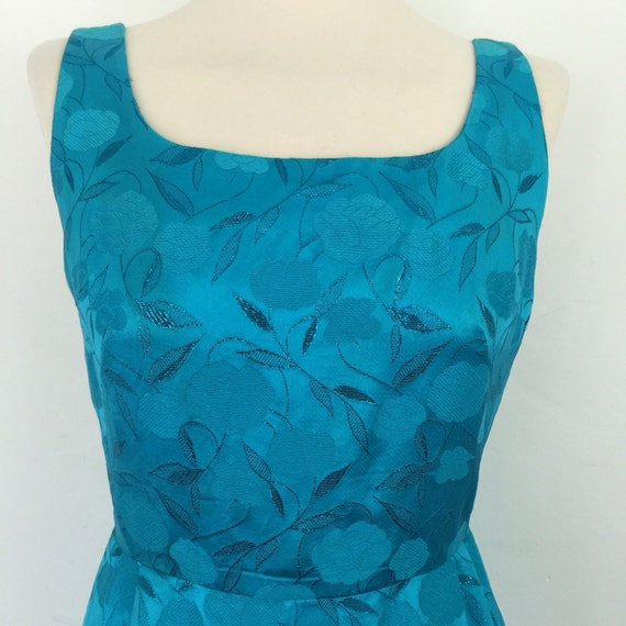 1950s dress vintage rose print woven brocade turquoise satin dress glitter leaf design evening dress early 1960s long gown prom cocktail