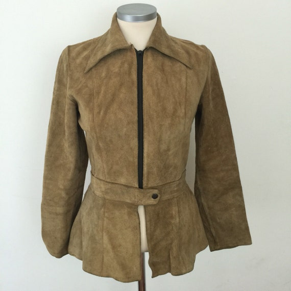 1970s suede jacket 70s boho coat brown real leather beige jacket festival dagger collar  zip up hippy 60s Mod scooter girl UK 10