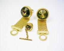 MESH WRAP CUFFLINKS Tie Tack Set * inlaid Volcano Rivoli Glass Vintage Cuff Links Suit Accessory Formal Wear Men Wedding Jewelry