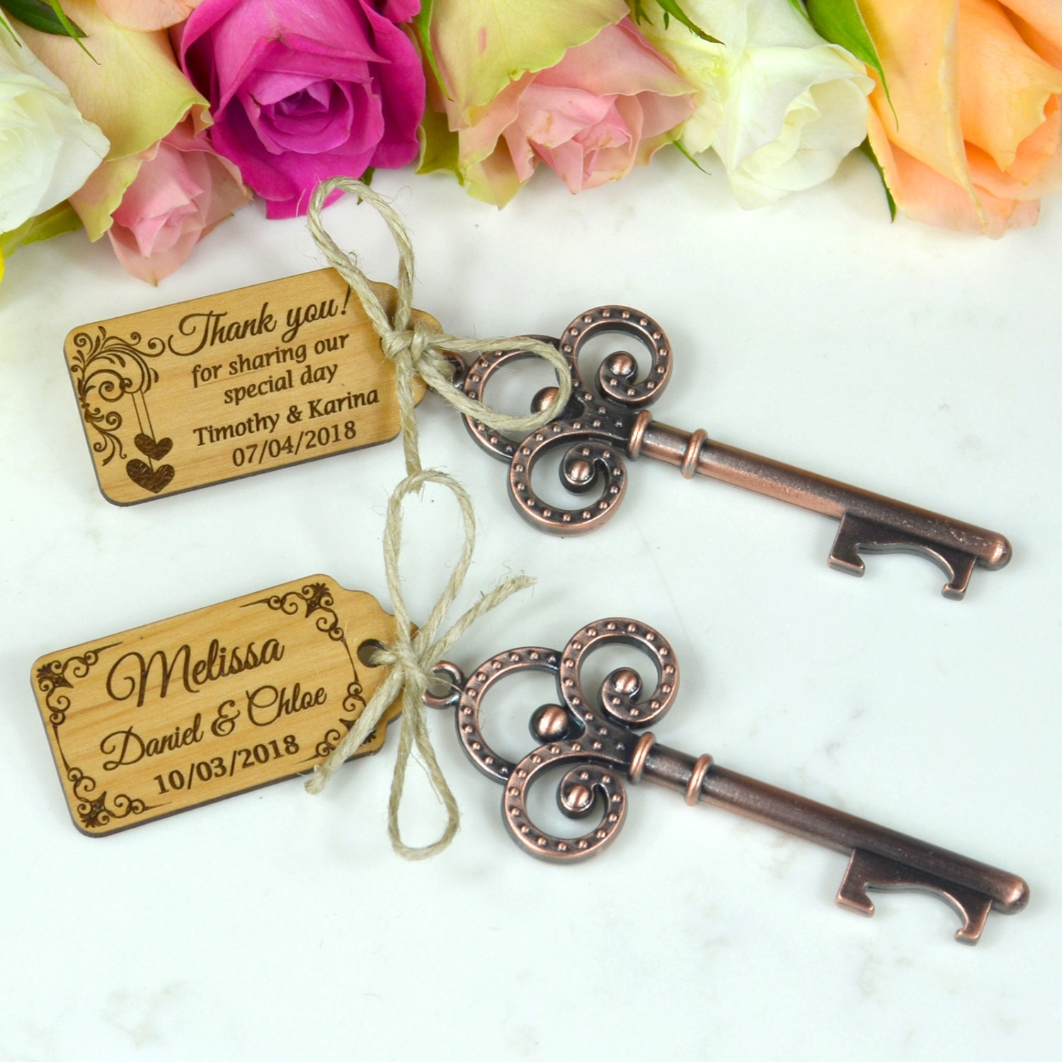 50 x rustic key bottle openers with wooden by personalisedfavours. Black Bedroom Furniture Sets. Home Design Ideas