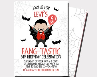 Halloween Birthday Invitation | Fall Birthday Invitation | Vampire Invitation | Dracula Invitation | Halloween Party | Costume Party
