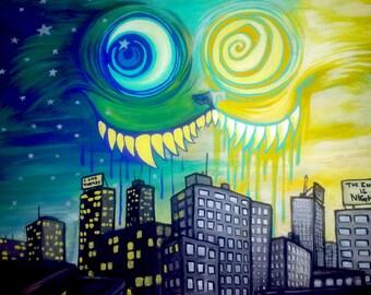 "Original painting, 11 x 14"" acrylic painting on canvas, Kitty City, OOAK"