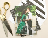 Save the Date Cards, Gold and Black Wedding Save the Dates, Photo Card Engagement Announcement, Classic Weddings | Fete