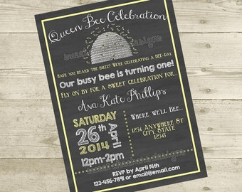 Custom Bee-Day (Birthday) Invitation - 5x7 DIGITAL FILE