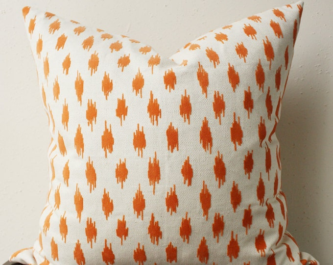 DISCONTINUED orange and cream pillow - cream linen with orange velvet spots