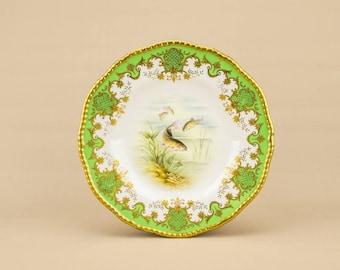 Round Green Sandwich Coalport 9'' Christmas PLATE Neo-classical Circa 1900 Antique LS