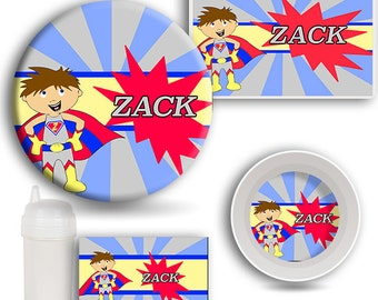 Kids Hero DINNERWARE SET, Personalized Dishes, Melamine Plate, Kids Bowl, Sippy Cup, Kids Placemat, Super Hero Dishes, Superhero Tableware
