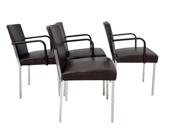 Enrico Franzolini Leather Chromed Steel Chairs