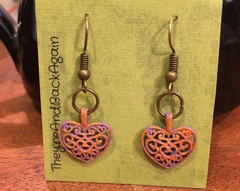 Lavender&Orange HandPainted Bronze Antique-Heart Earrings