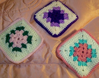 Vintage Crocheted Pot Holders - Set Of 3 - 6'' X 6'' - Cecelia-Marie 162
