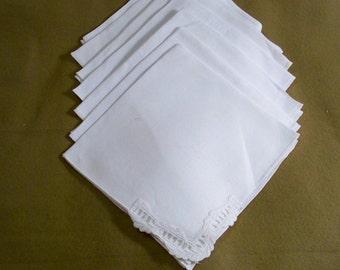 Set Of 7 White Linen Napkins - Cecelia-Marie - 227