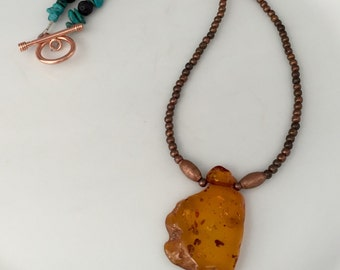 Copper and amber necklace, turquoise necklace with an amber pendent, amber and turquoise necklace, amber necklace, copper and amber jewelry