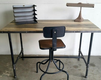 Reclaimed Wood and Steel Pipe Kitchen Island Work Bench Desk Table