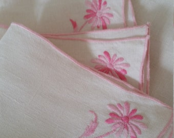 White Linen Placemat and Napkin Set With Pink Embroidery - Set of 4