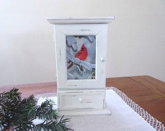 Shabby Chic  Cabinet  Storage Organizer  Christmas Decor Red Cardinal Medicine Cabinet
