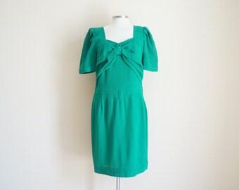 Vintage 1980s Dress / Vintage Green Dress