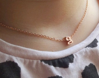 Children's initial necklace, flower girl gift, flower girl necklace, flower girl jewelry, wedding children gift name silver rose gold gold