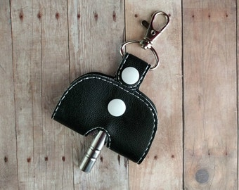 Drum Key Holder Key Chain, Opens to Hold Drum Key, Embroidered Vinyl in 25 Colors with Snap, Made in USA, Musician Drummer Key Fob Gift