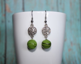 Silver and Green Scroll Earrings - Green Bead Dangles - Ornate Silver Earrings - Green Beaded Earrings - Glass Bead Earrings - Gift For Her