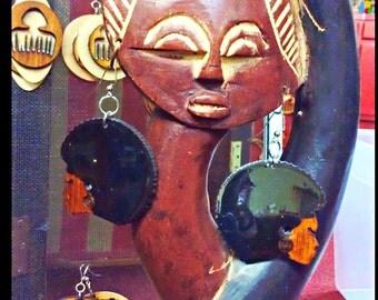 Glass Finish Afro Head Earrings