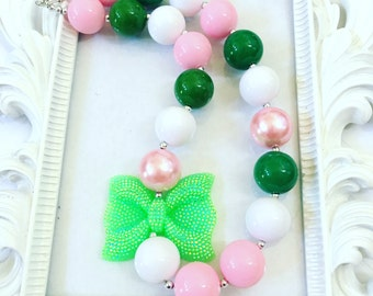 Green, Pink And White Chunky Necklace,  Girl's Costume Necklaces, Custom Girl's Jewelry, Kid's Custom Necklace, Toddlers Custom Necklaces