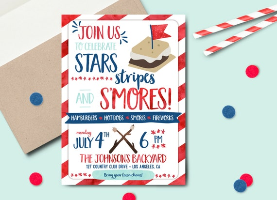 4th Of July Smore Backyard Party Invitation DIGITAL FILE Summer