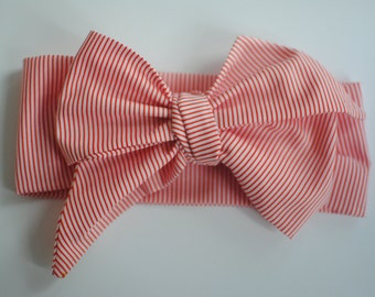 Red and White Skinny Striped Head Wrap