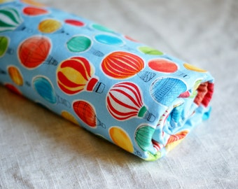 Hot Air Balloon Crib Blanket for Baby or Toddler. First Birthday Gift for Boys