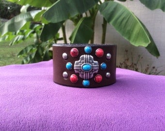 Women's brown leather turquoise and coral riveted cuff bracelet