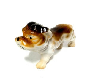 Dog Figurine, Bull Terrier Figurine, Brown Bulldog Statue, Made in Japan