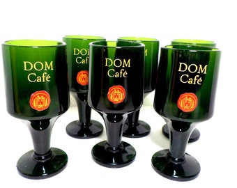 Barware, Dom Cafe, Stemmed Dom Cafe Set of 6, Dark Green Bar Glasses, Dom Benedictine Coffee, French Coffee, Benedictine Liquor Bar Glasses