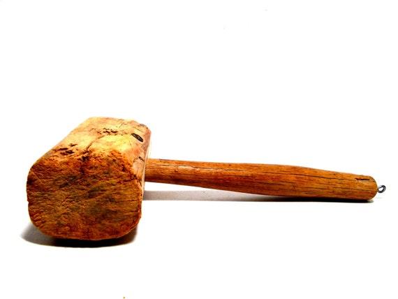 Vintage Wooden Mallet, Primitive Wooden Hammer, Wooden Tools, Rustic Wooden Mallet, Rustic Primitive Farmhouse Decor