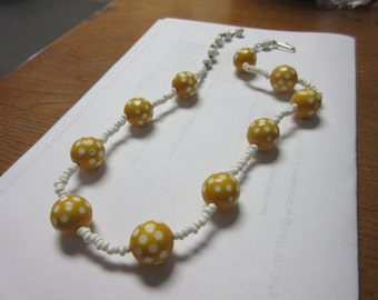 Lucite Yellow Polka Dot Necklace